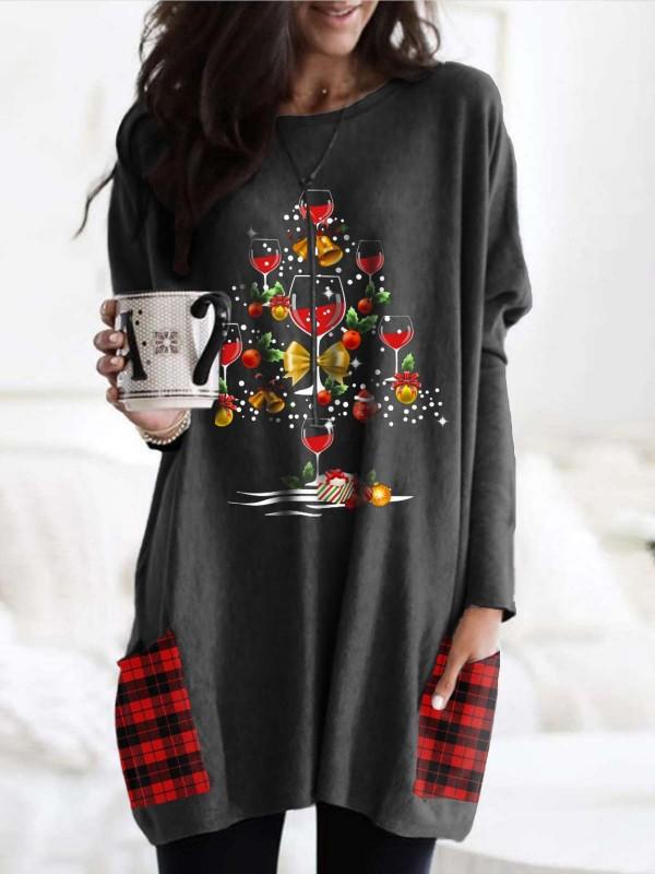 Woman's Christmas Red Wine Glass Plaid Print Tshirt