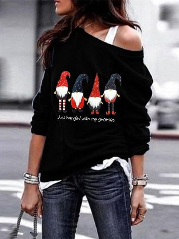 Ladies Santa Printed Long Sleeve Oblique Shoulder Sweatshirt