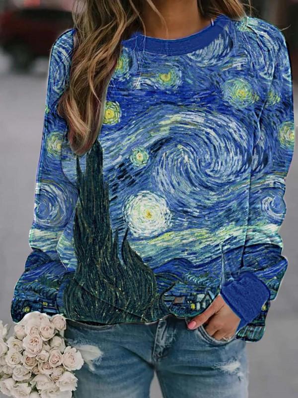 Women's Van gogh painting crew neck casual sweatshirt