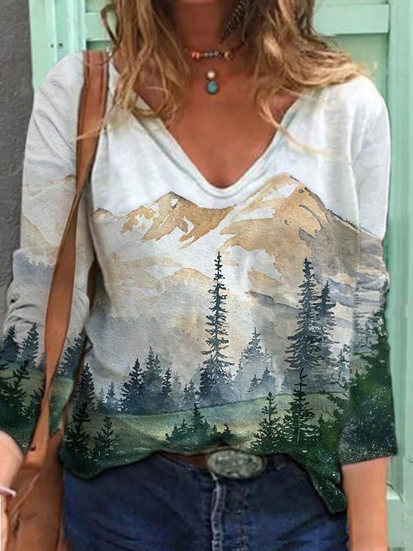 Women's Mountain Landscape Printed VNeck Long Sleeve Tshirts