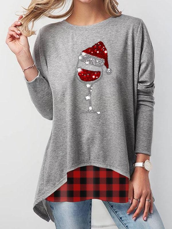 Christmas Red Wine Glass Print Check Panel Tshirt