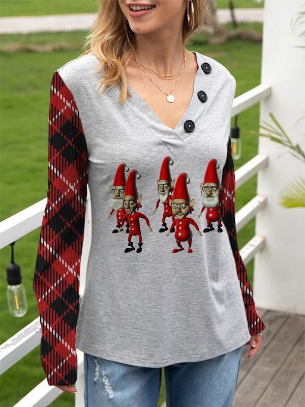 Women's Casual Loose Christmas 5 Christmas Dwarfs Printed Long Sleeve TShirt