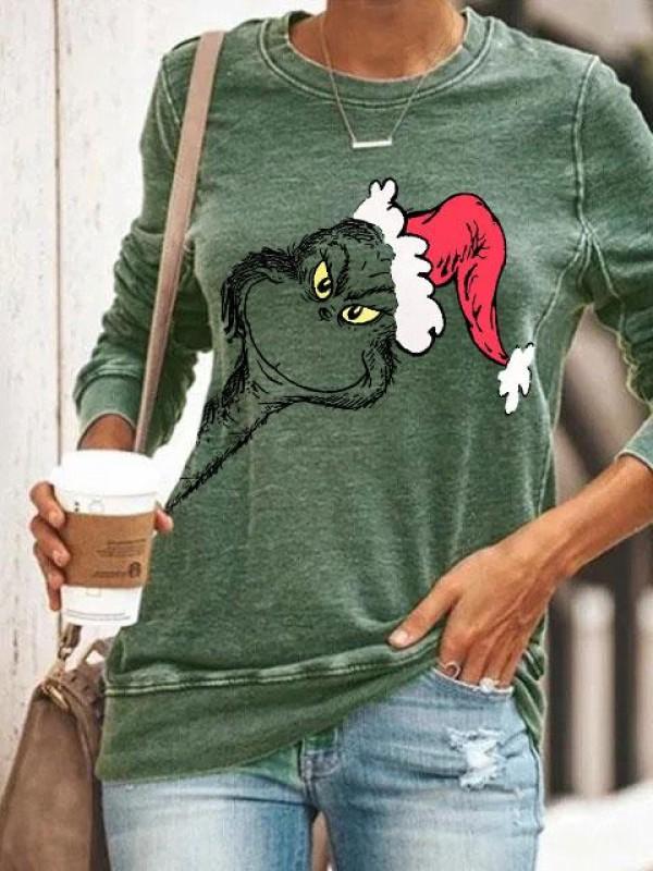 Women's Christmas Monster Elements Print Long Sleeve Sweatshirt