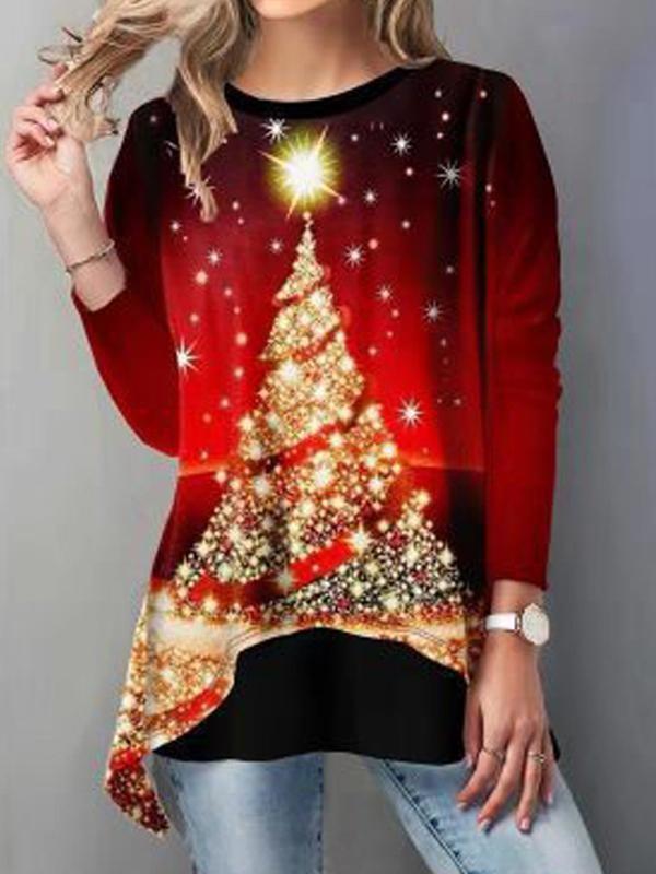 Asymmetrical Hem Christmas Tree Printed TShirt