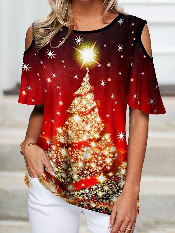 Christmas Tree Cold Shoulder TShirt