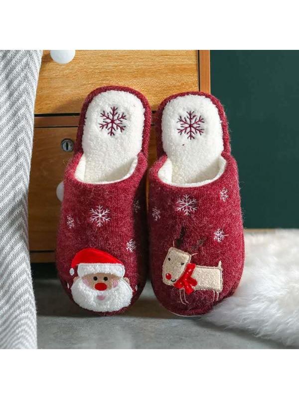 Women's Santa Nonslip Same Style For Men And Women Plush Cotton Slippers