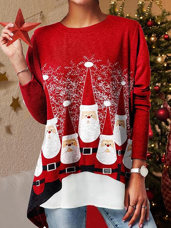 Santa Print Christmas Long Sleeve TShirt