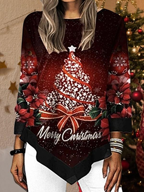 Christmas Tree Printed Asymmetrical Hem TShirt