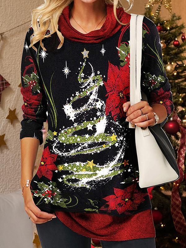 Cowl Neck Christmas Tree Printed TShirt