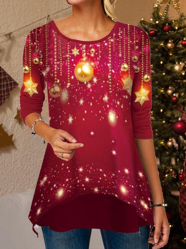 Christmas Light Print Asymmetrical Hem TShirt