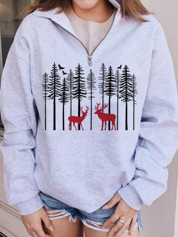 Elk Forest Print Zipper Collar Casual Sweatshirt