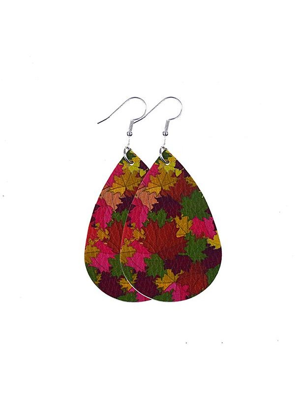 Women's Thanksgiving Water Drop Maple Leaf Pumpkin Earrings