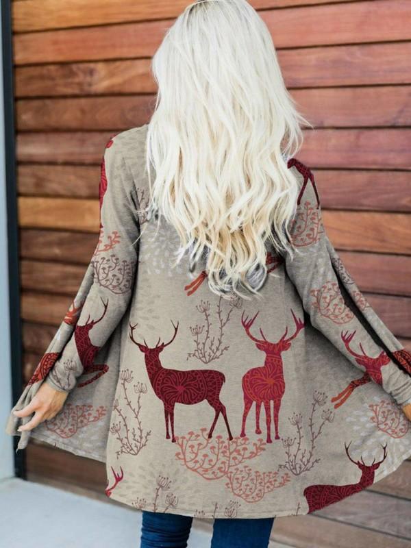 Christmas Elk Print Casual Cardigan