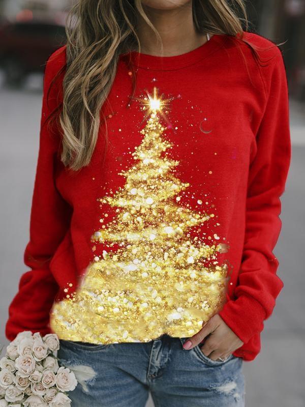 Christmas Tree Printed Christmas Sweatshirt