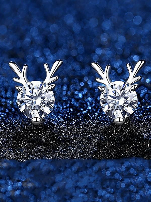 Rhinestone Reindeer Earrings Christmas Accessory