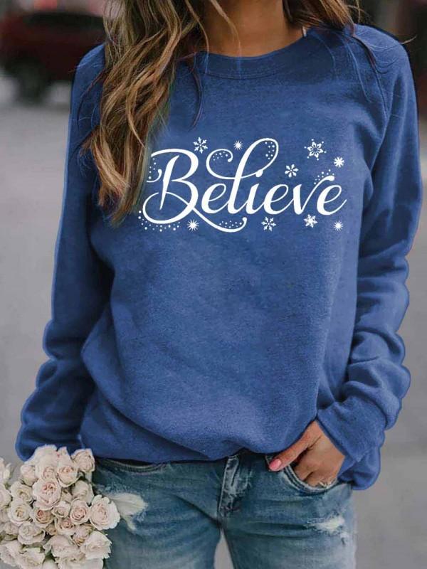 Women's Believe Snowflake Print Sweatshirt