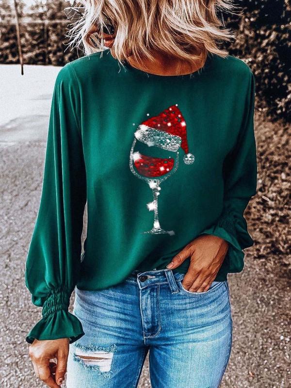 Women's Christmas Shining Wine Glass Tshirt