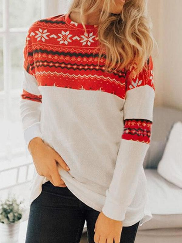 Women's Christmas Print Long Sleeve Tshirt