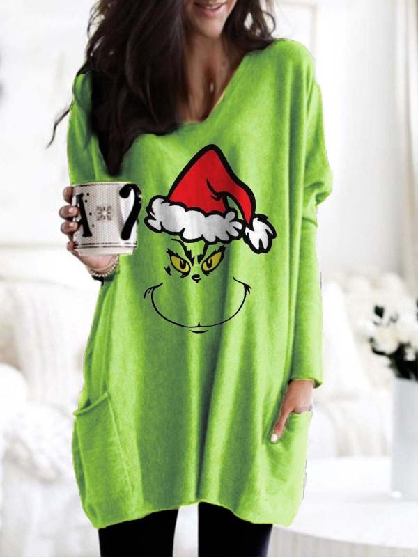 Grinch Face Christmas Long Sleeve TShirt