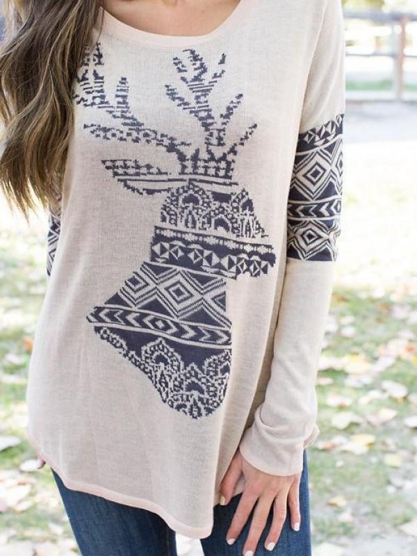 Christmas Elk Print Long Sleeve Round Neck TShirt
