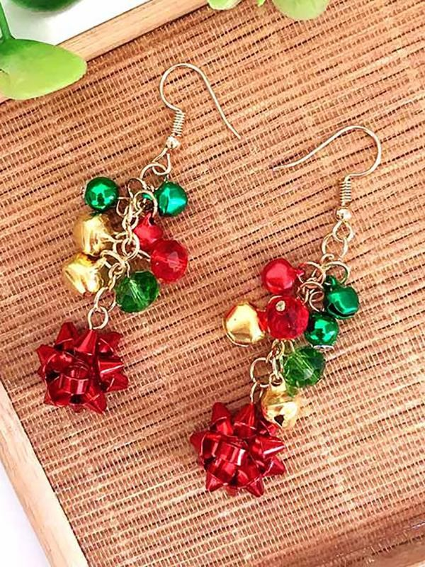 Christmas Necklace Flowers Bell Necklace Bracelet Earrings