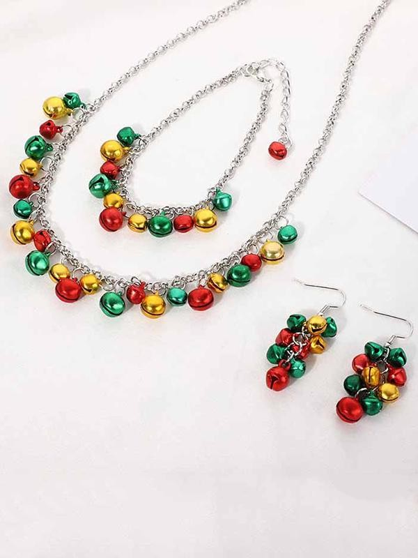 Christmas Necklace Set Flowers Bell Necklace Bracelet Earrings