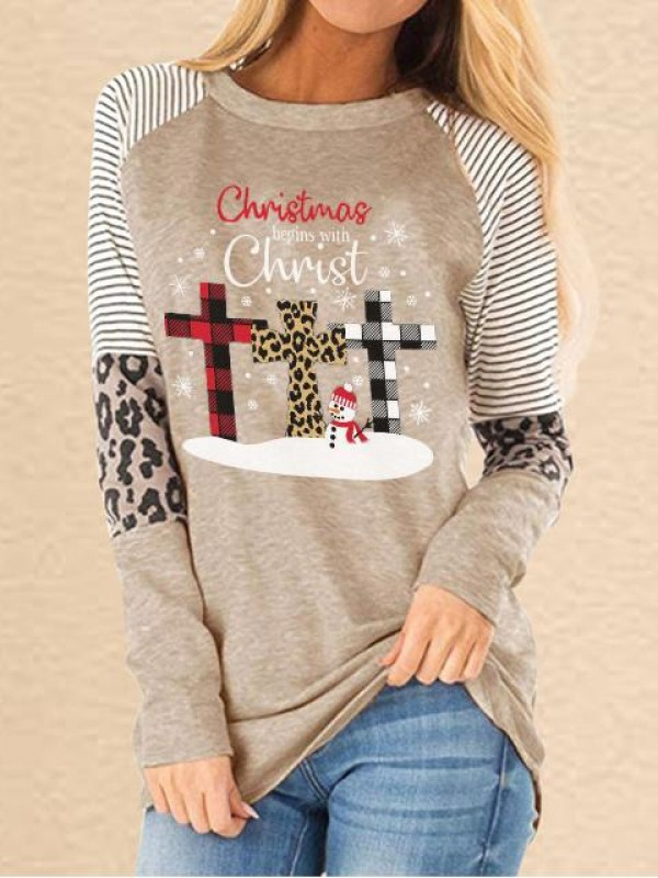 Women's Faith Christmas Printed Christmas Begins With Christ Leopard Stitching Casual Sweatshirt
