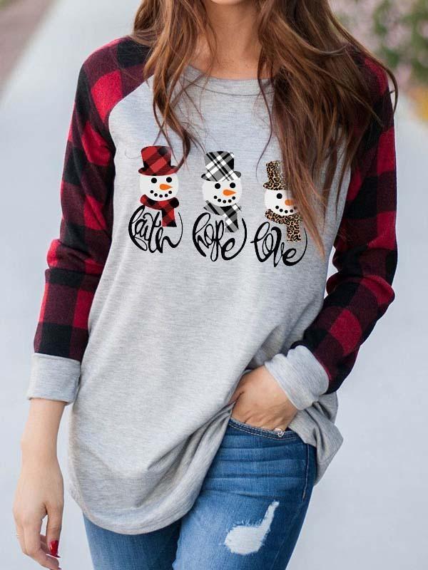 Ladies FAITH & HOPE & LOVE Christmas Snowman Print Tshirt
