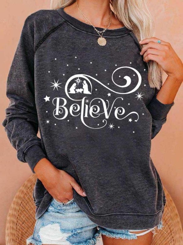 Women's Believe Christmas Print Sweatshirt