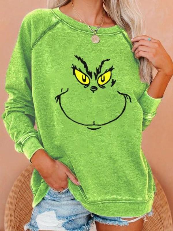 Women's Grinch Stole Christmas Print Raglan Sleeve Sweatshirt