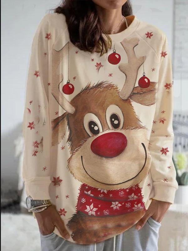 Women's Christmas Animal Print Long Sleeve Loose Tshirt