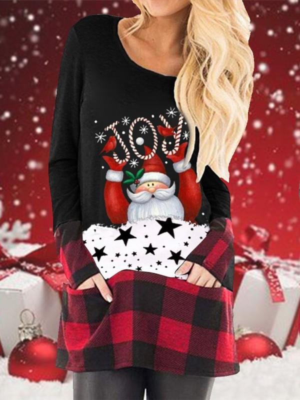 Christmas Cartoon Print Plaid Stitching LongSleeved TShirt