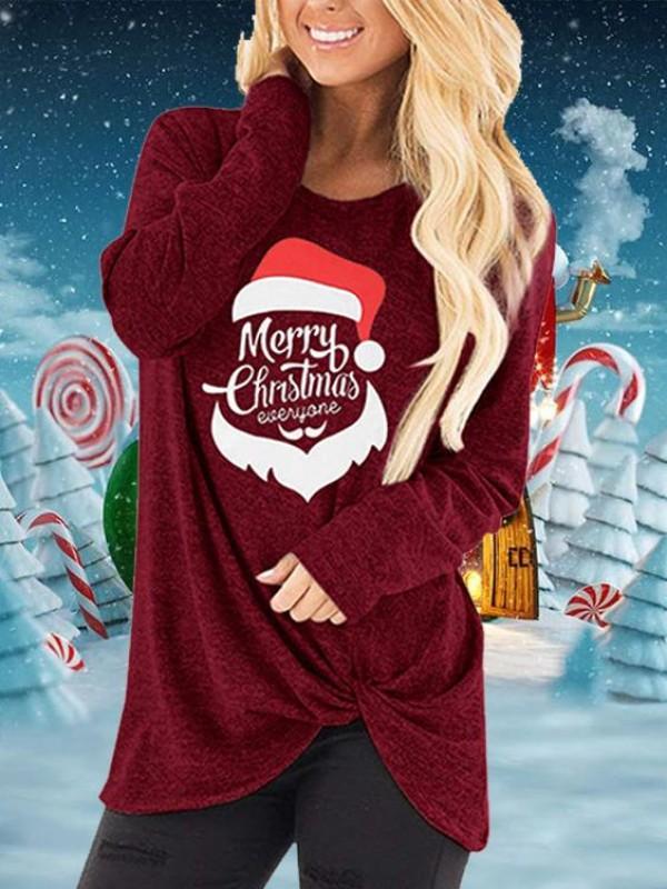 Merry Christmas Everyone Christmas Hat Print Hem Knot TShirt