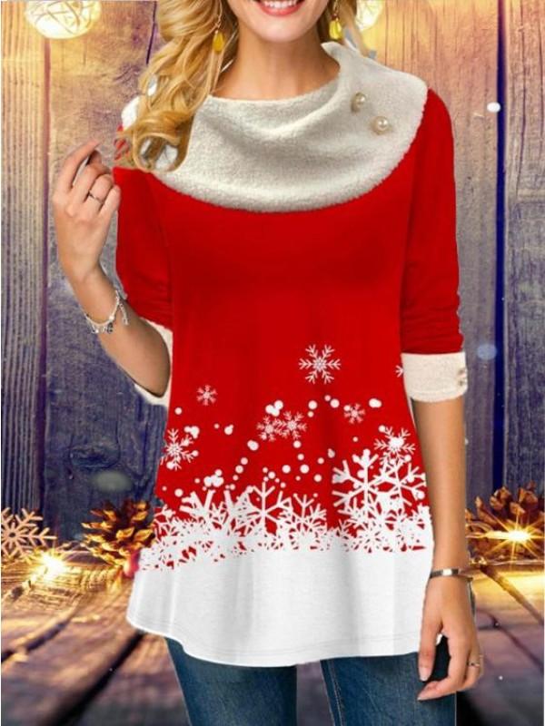 Christmas Print Pile Collar Long Sleeved TShirt