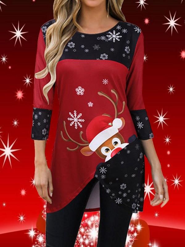 Christmas Deer Print 3/4 Sleeve MidLength TShirt