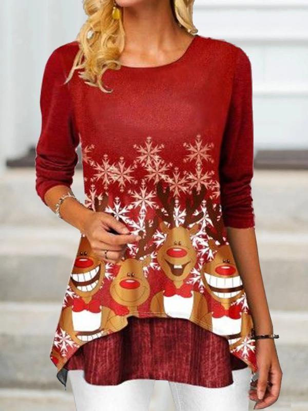 Christmas Printed Asymmetrical Hem TShirt