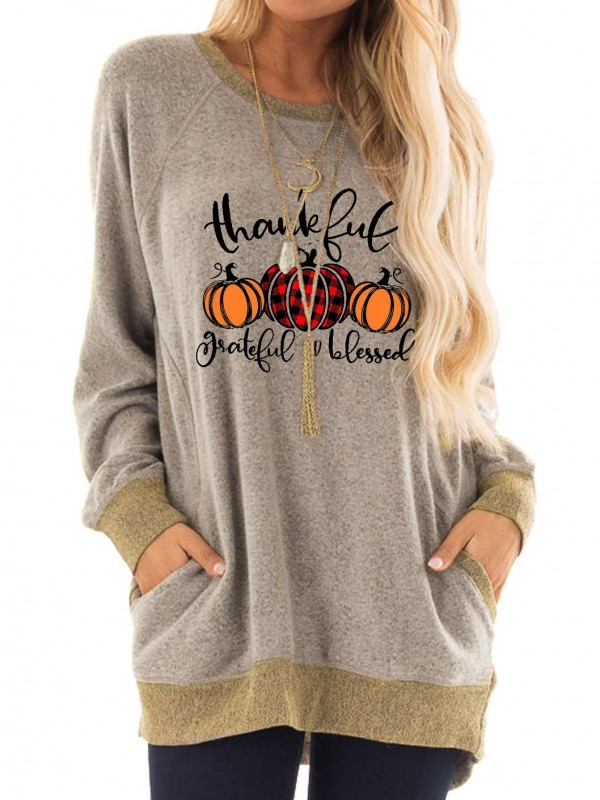 Women's Thankful Grateful And Blessed Long Pocket Casual Tshirt