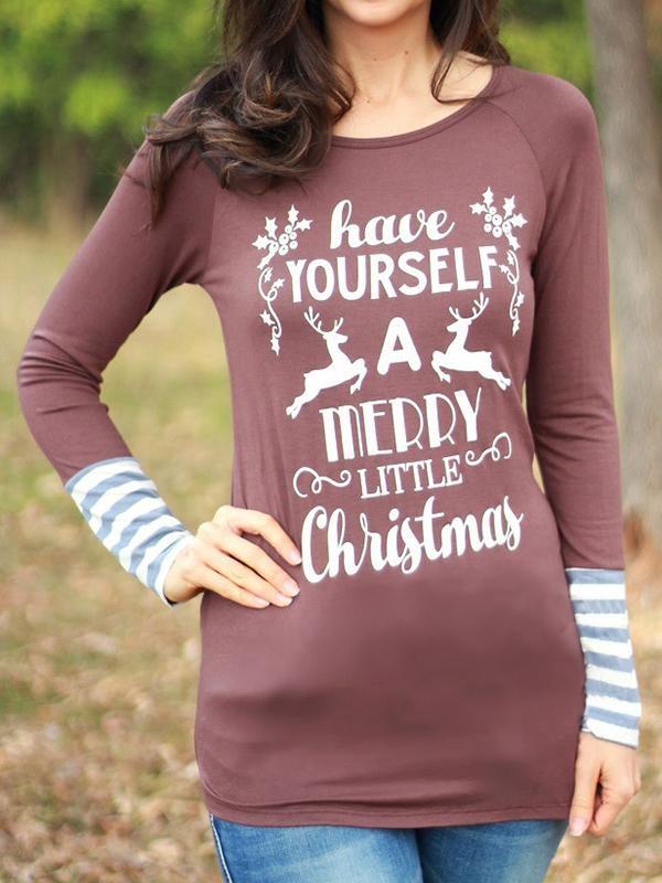 Ladies Christmas print stitching striped long sleeve Tshirt