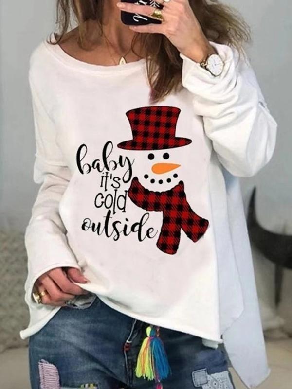 Ladies loose Christmas print round neck long sleeve sweater