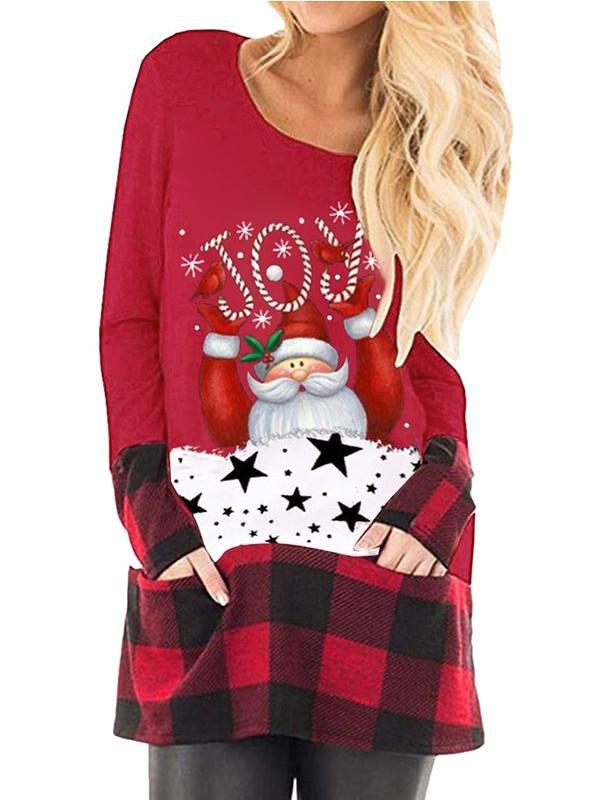 Ladies plaid stitching Christmas print pocket long sleeve Tshirt