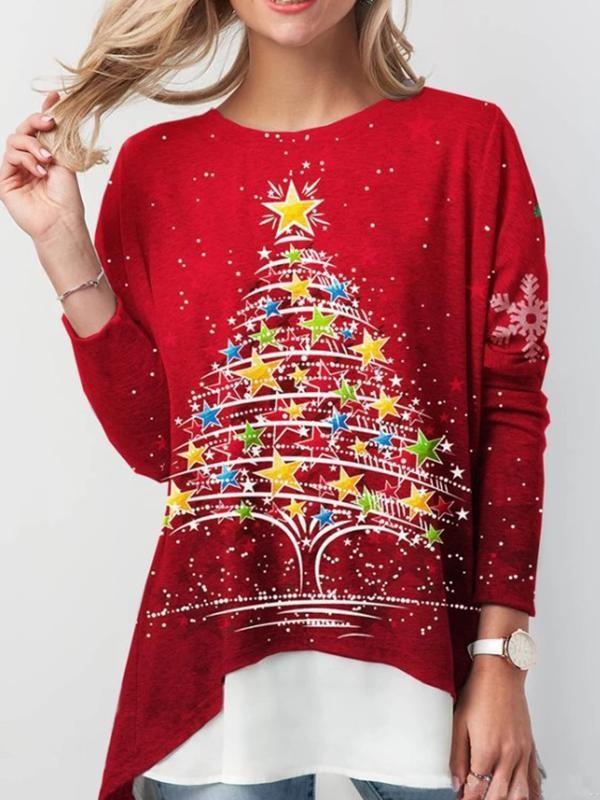 Ladies loose and irregular Christmas print Tshirt