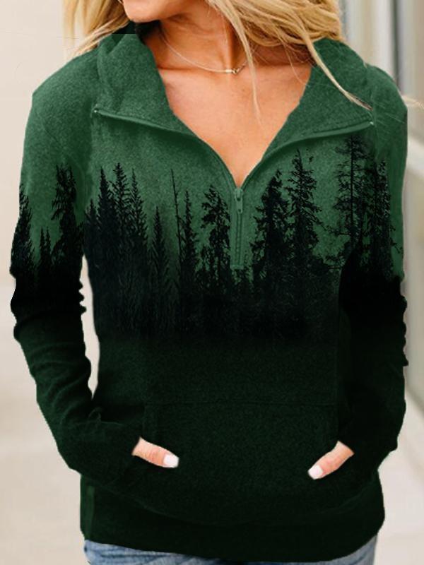 Treetop Silhouette Zipper Lapel Sweatshirt