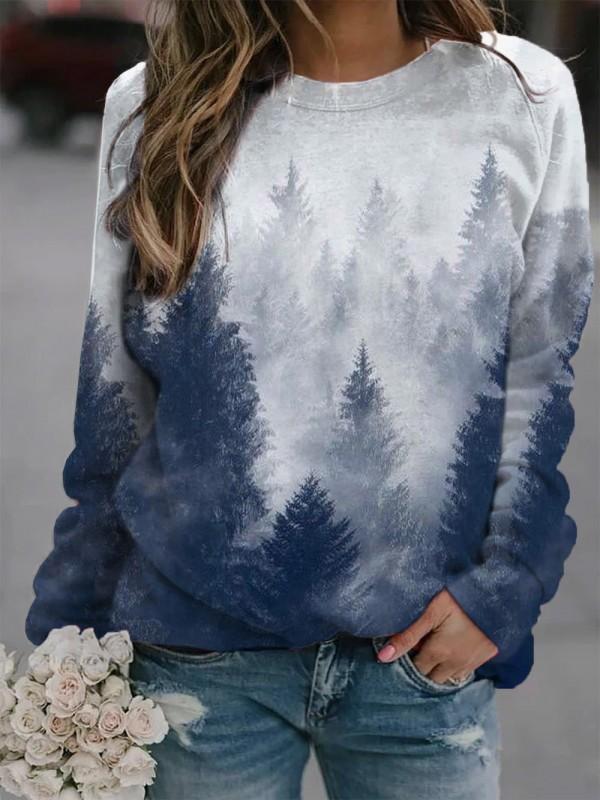 Forest  Treetops Print Cozy Sweatshirt