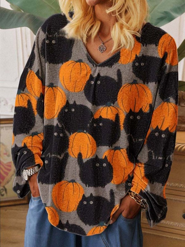 Ladies Pumpkin Cat Print Sweatshirt