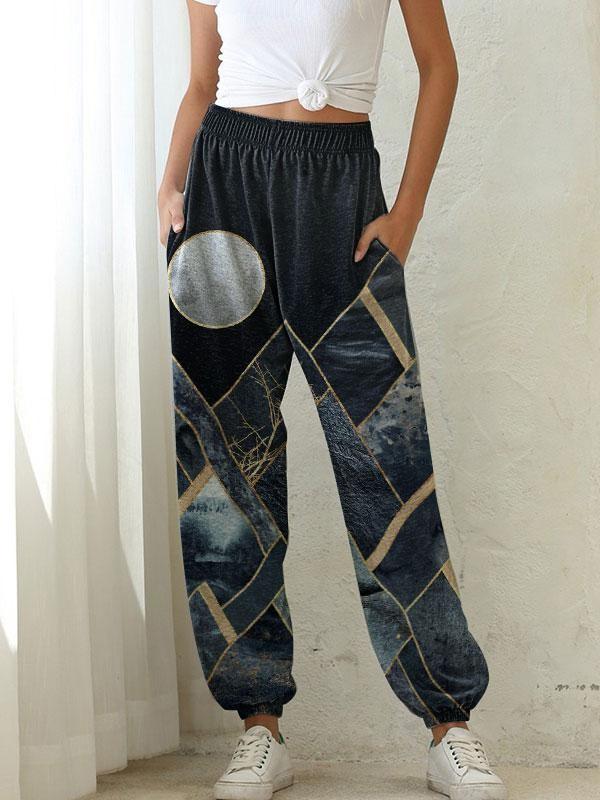Women's Mountain Treetop Print Casual Pants