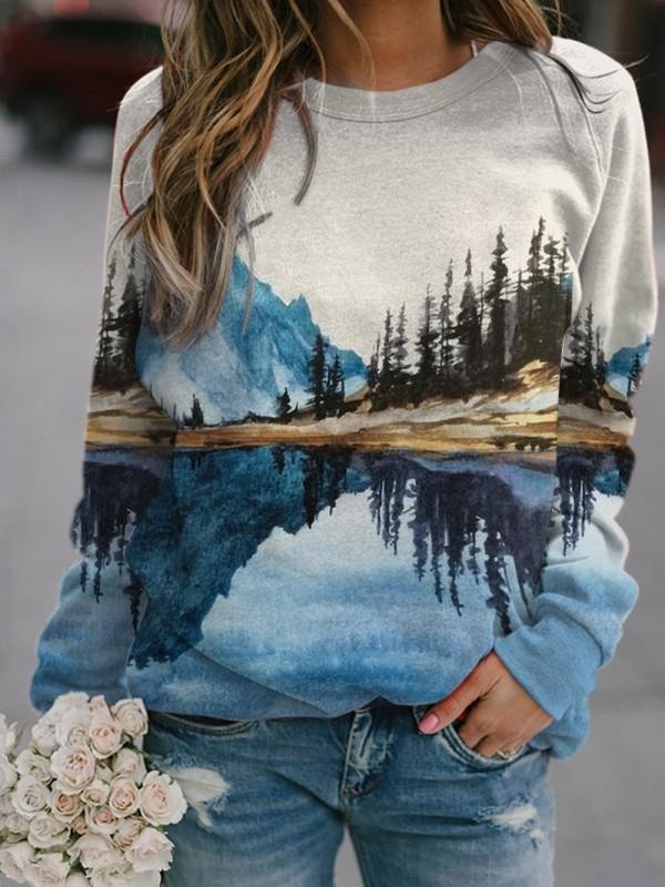 Women's Mountain Printed Round Neck Casual Sweatshirt