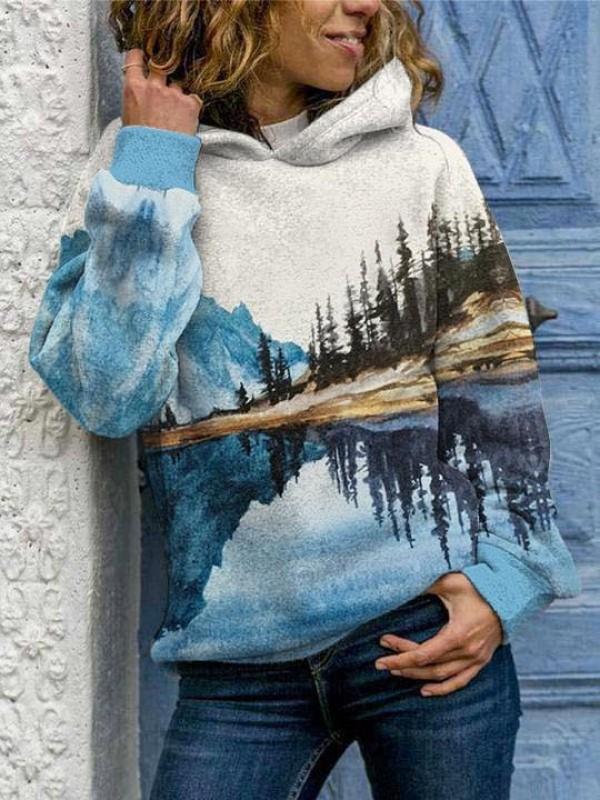Women's Mountain Printed Round Neck Casual Hoodie Sweatshirt