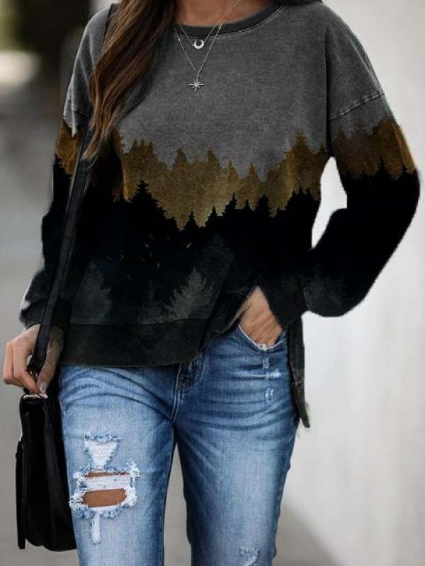 Mountain printed crew neck casual sweatshirt