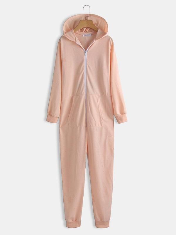 Women Cute Pajamas Onesie Panda Cartoon Print Hooded Zip Jumpsuits