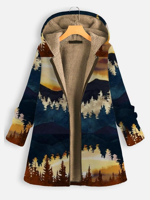 Landscape Print Thick Hooded Long Sleeve Coat For Women